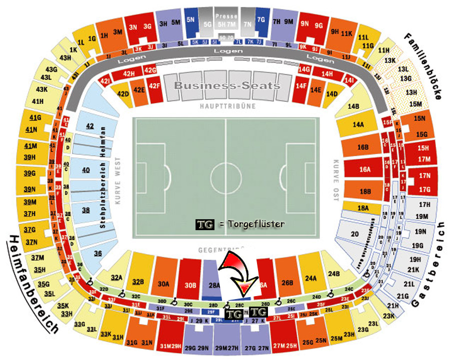 Stadionplan Frankfurt